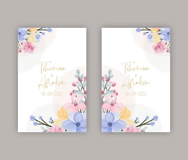 Invito a nozze e modello di menu con bellissimi fiori e foglie ad acquerello