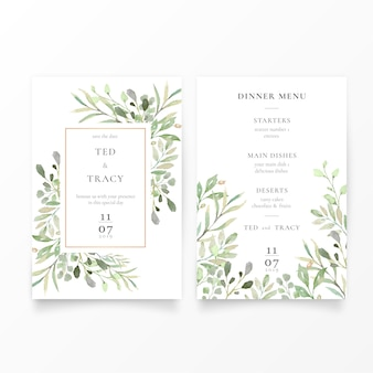 Wedding invitation & menu template with green leaves