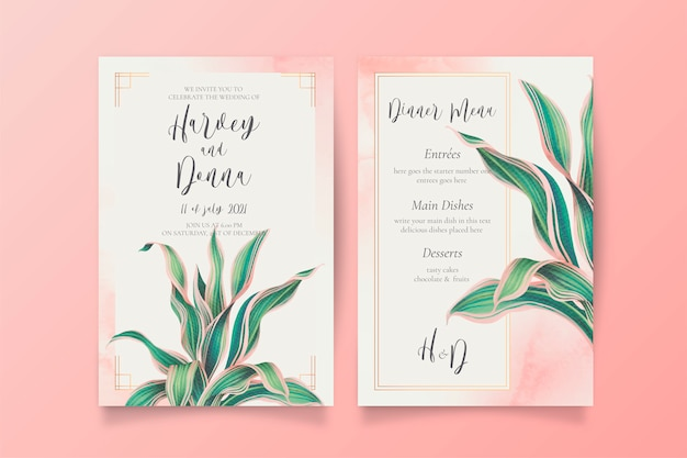 Wedding invitation and menu template with lovely leaves