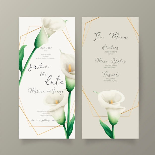Wedding invitation and menu template with white lilies