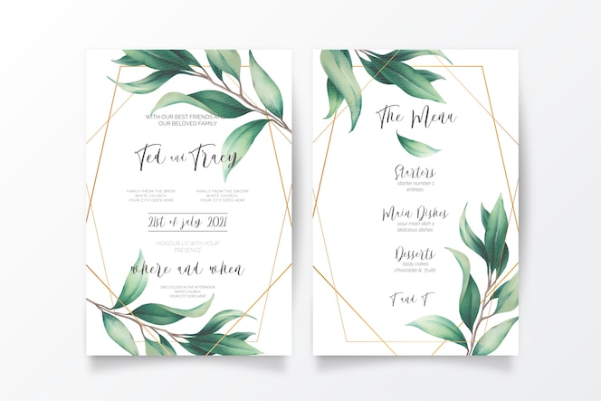 Wedding invitation and menu template with wild leaves