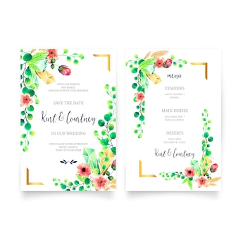 Wedding invitation & menu template