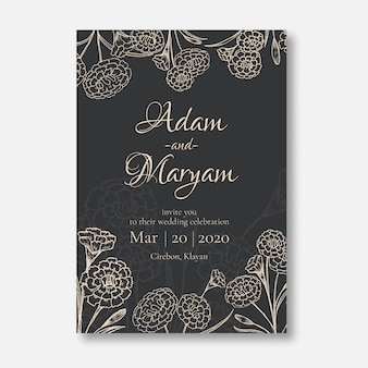 Wedding invitation minimalist card design style with beauty doodle hand drawn carnation flower ornament outline vintage