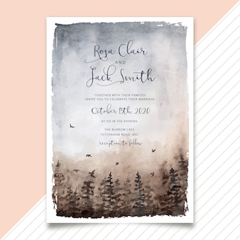 Wedding invitation misty forest watercolor