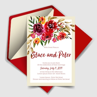 Wedding invitation modern with rose red watercolor