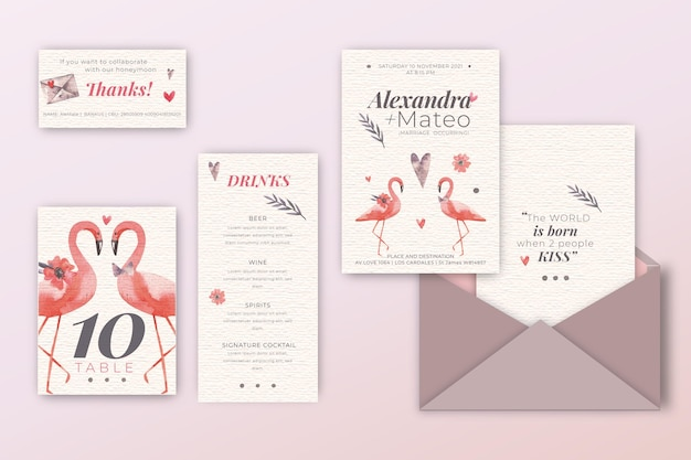 Wedding invitation pack with flamingos