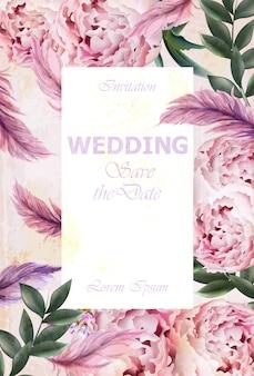 Wedding invitation peonies bouquet