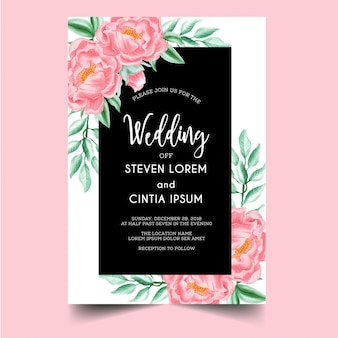 結婚式招待状牡丹ピンク