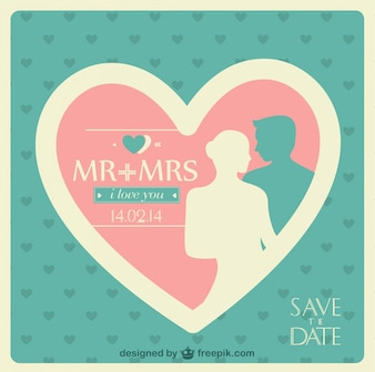 Wedding invitation in pink and blue with a big heart and couple silhouette