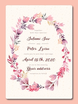 Wedding invitation pink flower with watercolor
