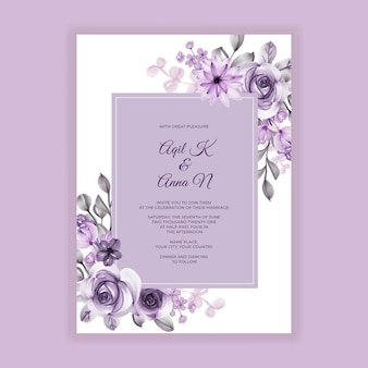 結婚式の招待状紫の花の水彩画