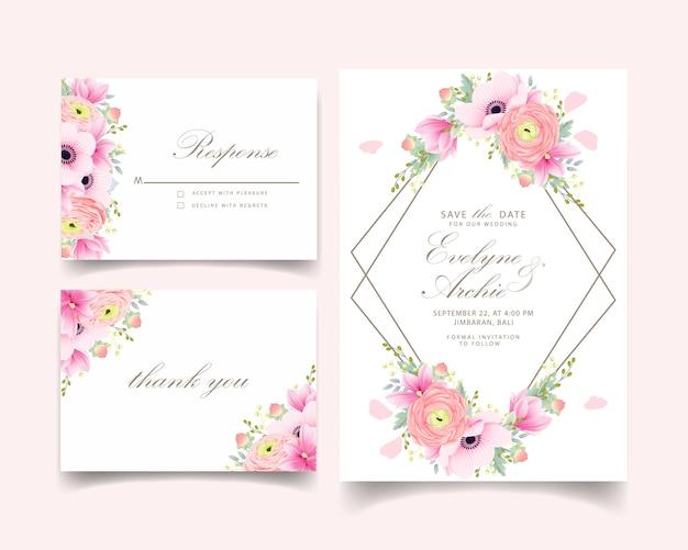 Wedding invitation ranunculus magnolia anemone flowers