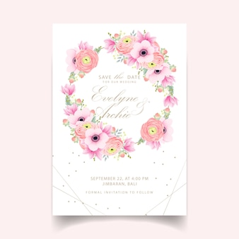 Wedding invitation ranunculus magnolia anemone flowers