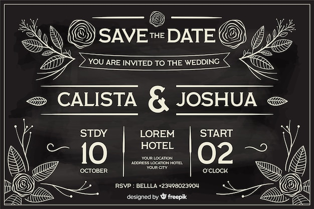 Wedding invitation in retro style written on blackboard