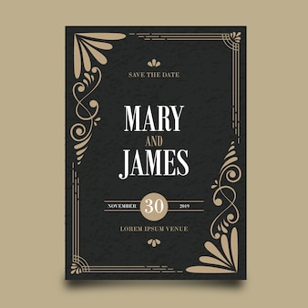Wedding invitation retro template