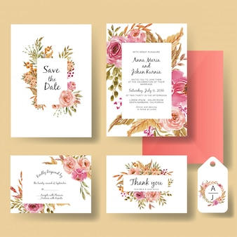 Wedding invitation romantic sweet set of watercolor flower pink and peach