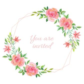 Wedding invitation rose background