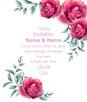 Wedding invitation rose flowers watercolor frame