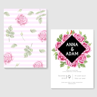 Wedding invitation rose pink watercolor background
