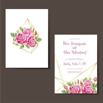 Wedding invitation rose pink watercolor diamond gold