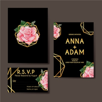 Wedding invitation rose pink watercolor gold