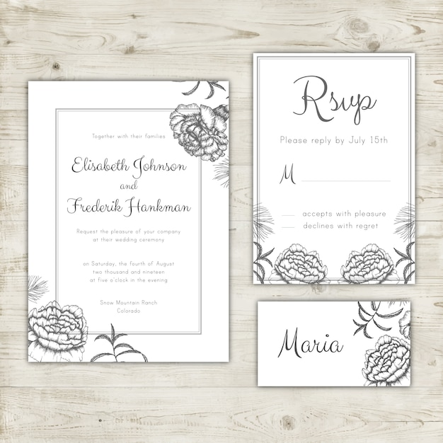 Wedding Invitation Rsvp Card And Place Card Design