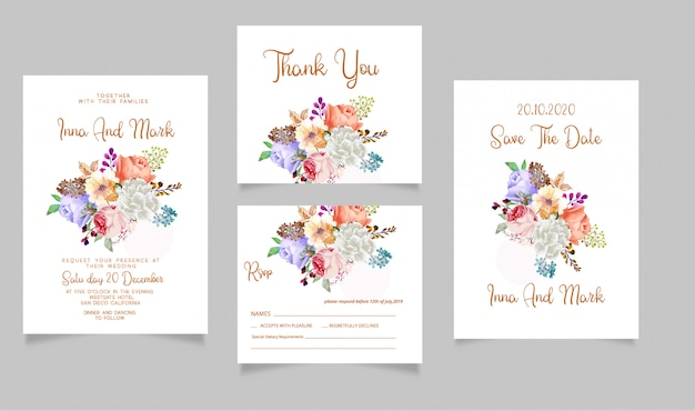 Wedding invitation rsvp card and save the date thank you card