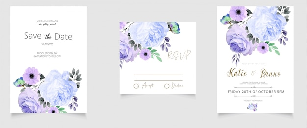 Wedding invitation rsvp card and save the date watercolor style