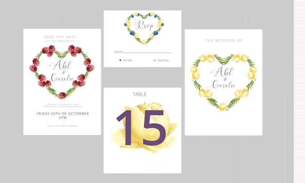 Wedding invitation rsvp card and table number