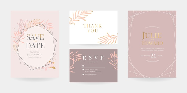 Wedding invitation, rsvp card, thank you card template
