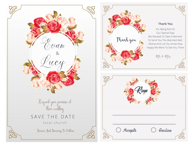Wedding invitation, rsvp card, thank you, wedding