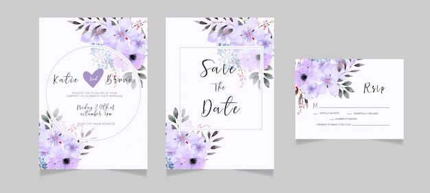 Wedding invitation rsvp card watercolor style