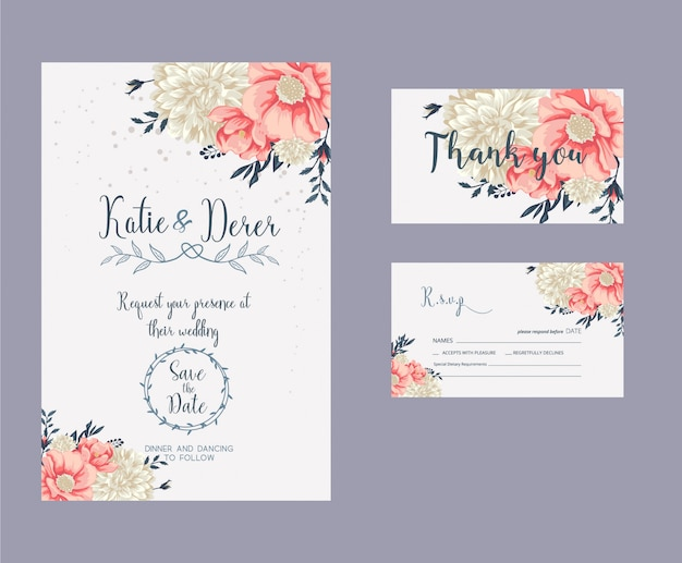 Wedding invitation, rsvp card