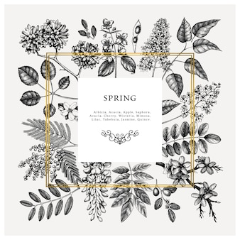 Wedding invitation, rsvp, greeting card . vintage frame with spring trees with flowers, leaves, branches sketches.  elegant spring floral template - acacia, jasmine, wisteria, lilac trees