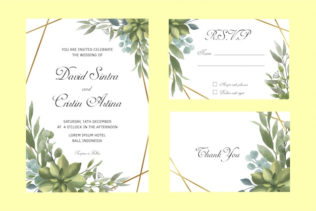 Wedding invitation and rsvp templates with watercolor style leaves