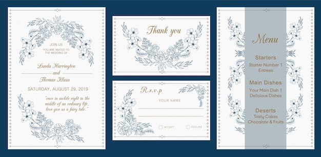 Wedding invitation, rsvp, thank you, menu card, modern design