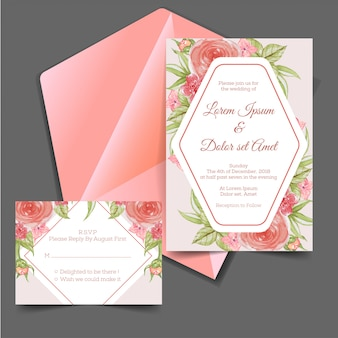 Wedding invitation & rsvp watercolor flower vintage pink