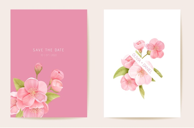 Wedding invitation sakura, cherry flowers, leaves card. realistic floral spring template vector. botanical save the date modern poster, trendy design, luxury background