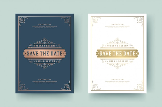 Wedding invitation save the date card golden flourishes ornaments vignette swirls