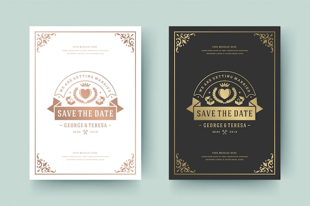 Wedding invitation save the date card golden flourishes ornaments vignette swirls