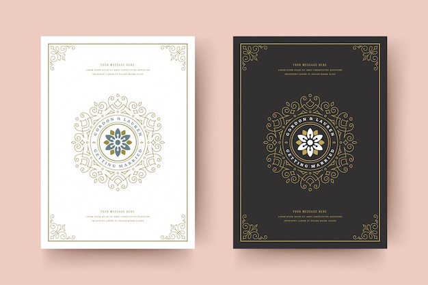Wedding invitation save the date card template flourishes ornaments vignette swirls