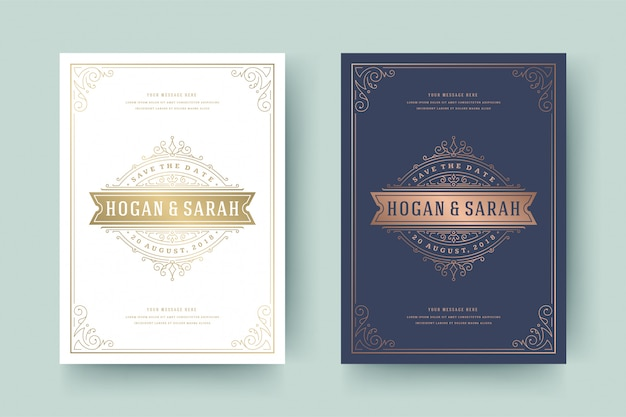 Wedding invitation save the date card template golden flourishes ornaments vignette swirls