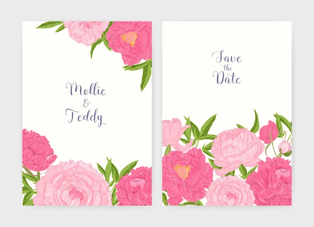 Wedding invitation and save the date card templates decorated with tender blooming pink peony flowers