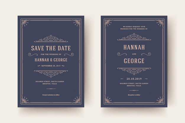 Wedding invitation and save the date cards flourishes ornaments. vintage victorian frames and decorations.
