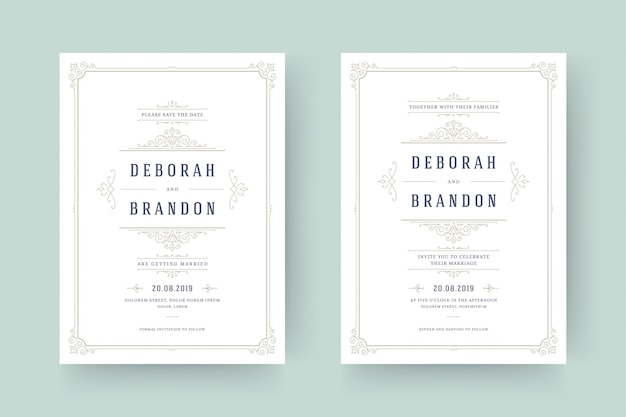 Wedding invitation and save the date cards flourishes ornaments.