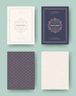 Wedding invitation save the date cards vintage typographic template design