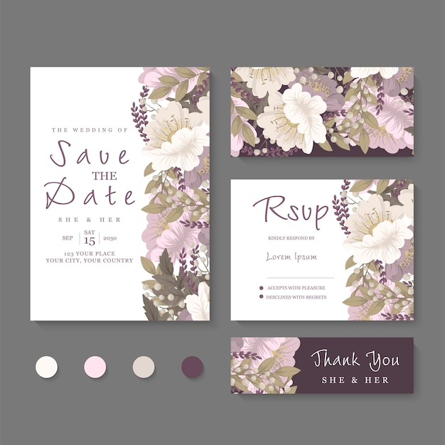 Wedding invitation, save the date. design template.