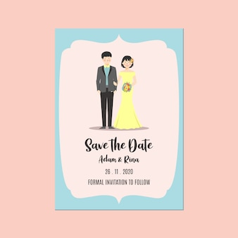 Wedding invitation save the date template couple holding hand and flower