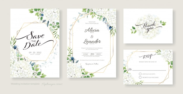 Wedding invitation, save the date, thank you, rsvp card design template. white hydrangea flowers with greenery.