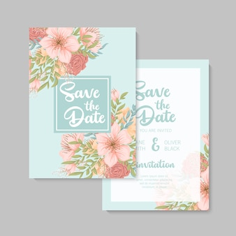 Wedding invitation, save the date, thank you, rsvp card design template.